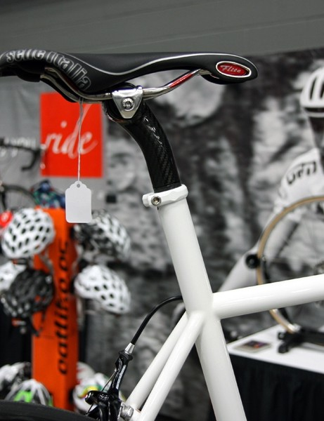 The extended seat tube of Serotta's VentiCinque frame is topped with the company's all-new carbon fiber seatpost