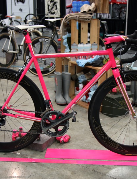 Not surprisingly, this bright neon pink Speedvagen road bike commanded the most attention in the Vanilla Workshop booth at NAHBS