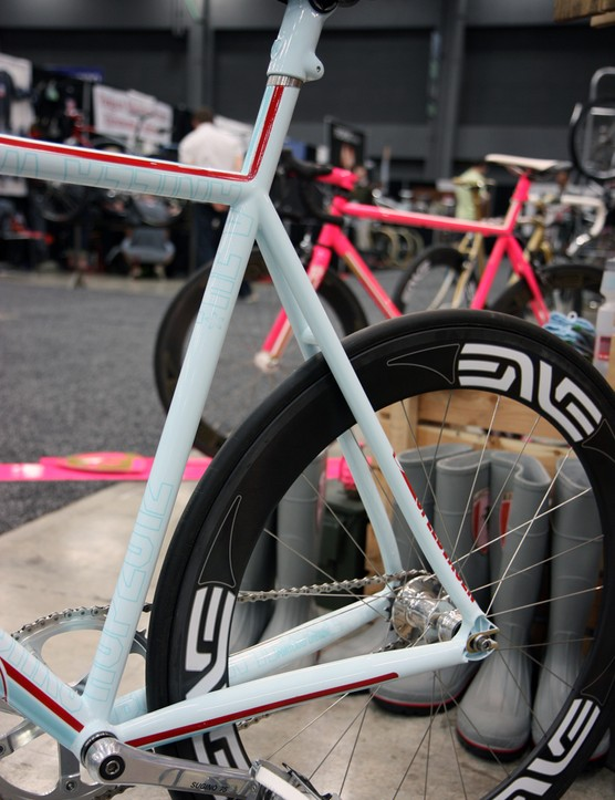 The chainstays on this Vanilla Workshop Speedvagen track bike are almost as big as down tubes back in the day