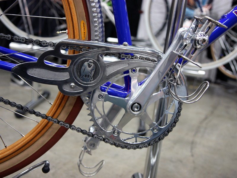 The chainguard that started it all. Brett Horton says these stand-in crankarms will ultimately be replaced with custom ones machined by Phil Wood