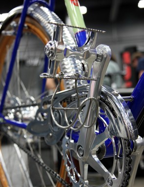 The pedals are based on new old stock Campagnolo Euclids but with custom cages made by Phil Wood and half-clips made by Ron Andrews of King Cage