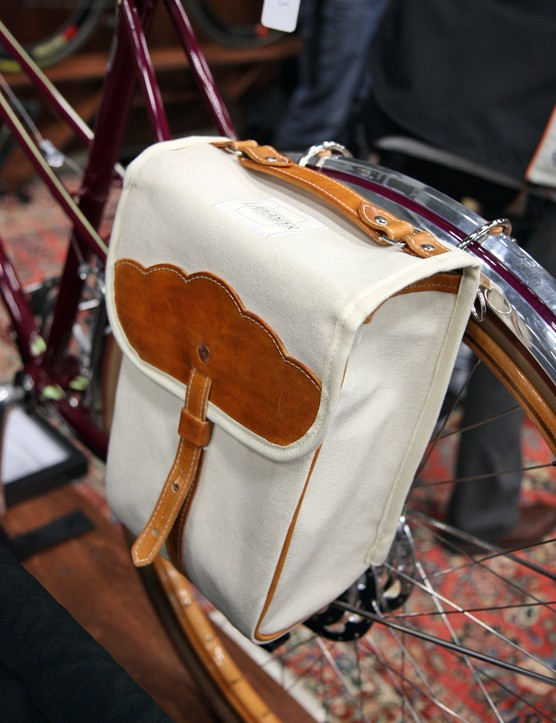 Custom Laplander bags are fitted to the rear of Shelly Horton's bespoke townie for now but they'll ultimately be replaced with ones created by Mulholland Brothers of San Francisco