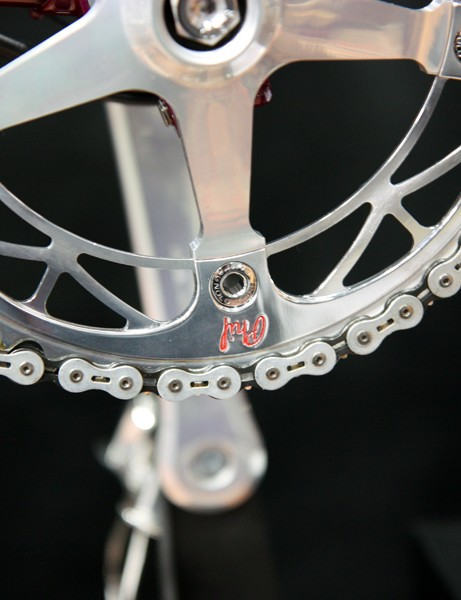 Phil Wood also machined the custom chainrings for both bikes