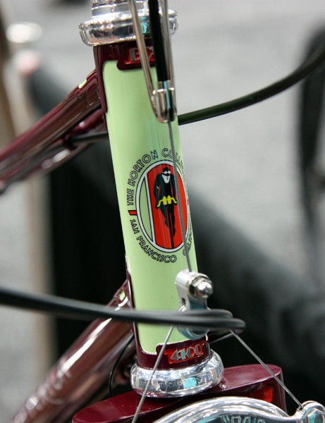 Brett Horton is a long-time bicycle memorabilia collector located in San Francisco, California. Proper custom head tube badges will come later this year