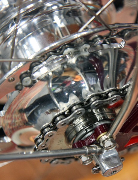 The rear hub uses Rohloff internals housed in a highly polished custom Phil Wood aluminum hub shell