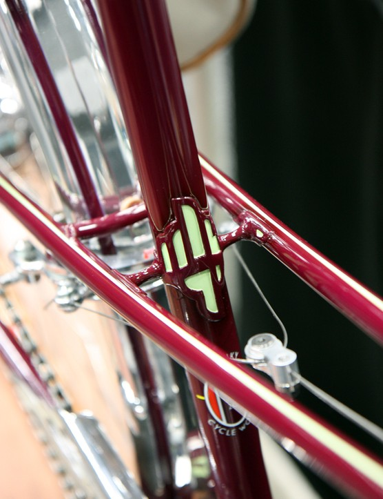 The seat lug is especially delicate on Shelly Horton's mixte frame
