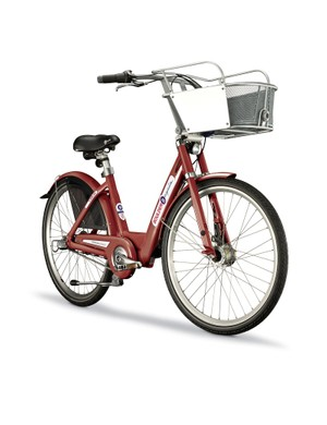 B-Cycle's bike offers a refined basket and cable lock to riders