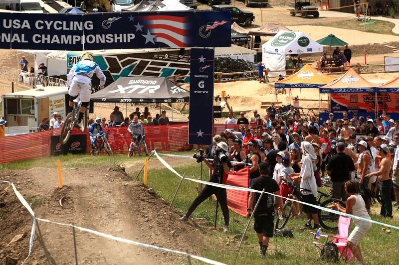 Aaron Gwin winning the men's national downhill national championship at SolVista in 2010