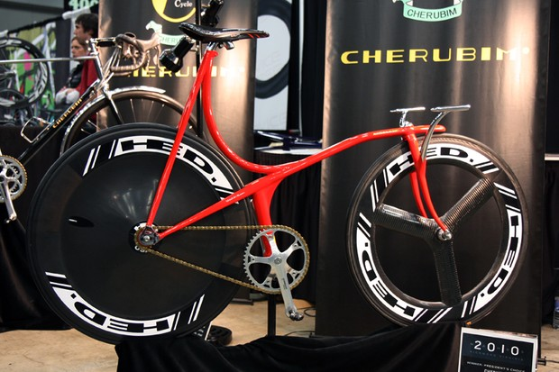 This wild red machine is Cherubim's interpretation of what a track bike could look like if the designs weren't restricted by UCI regulations