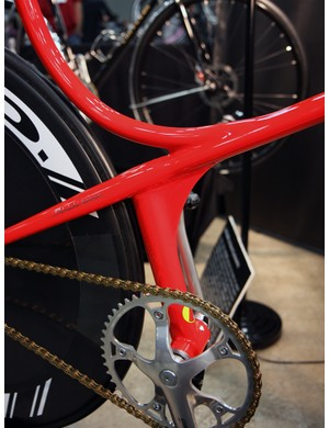 The bottom bracket on this Cherubim is supported solely by the seat tube - there are no chainstays and no conventional down tube