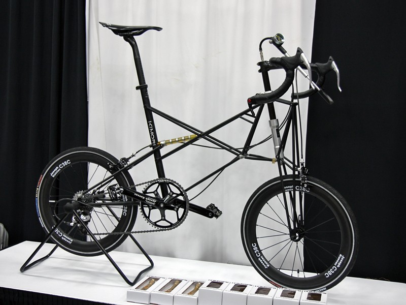 Kimori once again showed off their wild-looking trussed small-wheel bikes complete with front and rear suspension