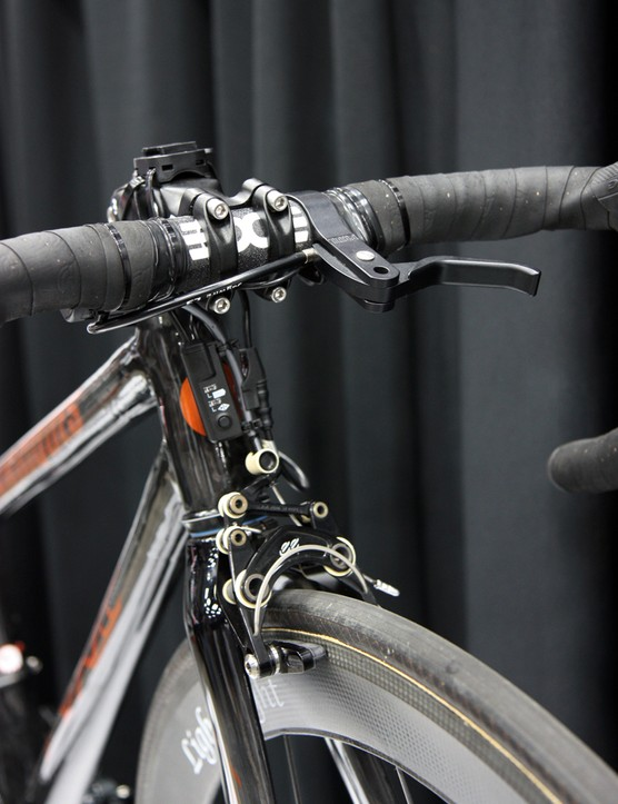 Count the bling on the front end of this special KirkLee kid's bike: eecycleworks eebrakes, Shimano Dura-Ace Di2, ENVE Composites bar, Paul top-mount brake lever, Lightweight 650c carbon wheels…