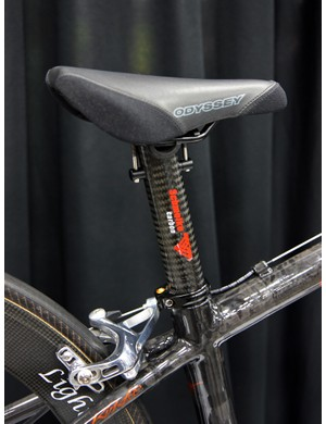 KirkLee topped the Schmolke seatpost with an Odyssey BMX saddle since standard ones would have been too big