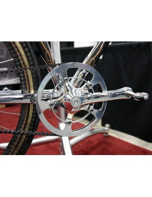 The crankarms, chainring and outer guard are all highly polished on this Krencker custom machine