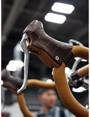 The brake levers are still pending some final development work but Krencker says the Tr!ckstuff master cylinder will ultimately have an ergonomic carbon fiber shell that will then be wrapped with leather upholstery to the customer's specifications