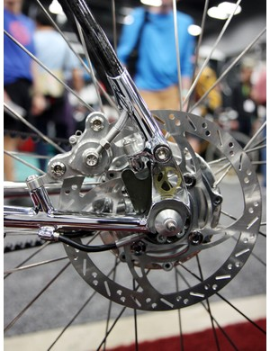 Tight bends like this would create an issue with a mechanical brake but this hydraulic one should pose no problems on Krencker's stunning bike