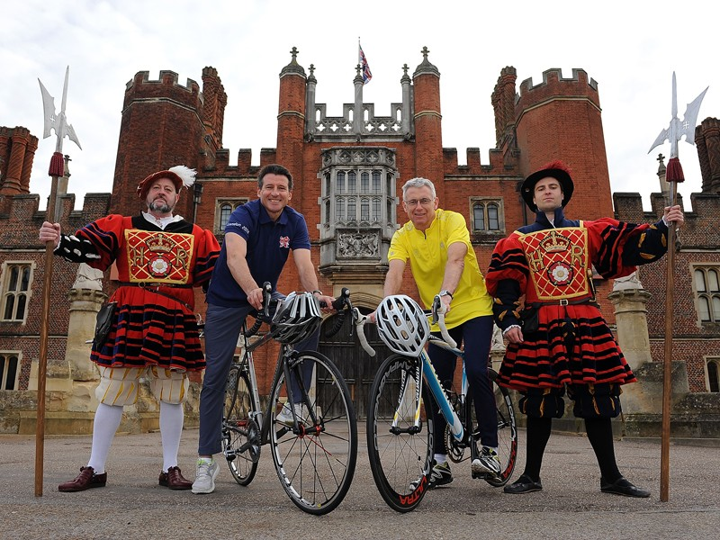 Seb Coe, chairman of LOCOG, and Michael Day, chief executive of Historic Royal Palaces, launch the Olympic time trial routes at Hampton Court Palace
