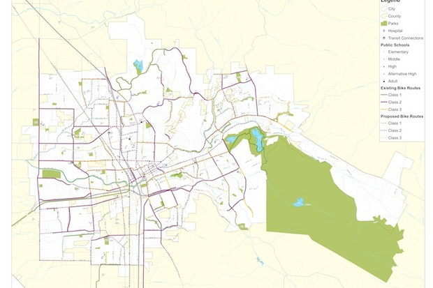 Santa Rosa bike path map featuring existing and proposed paths