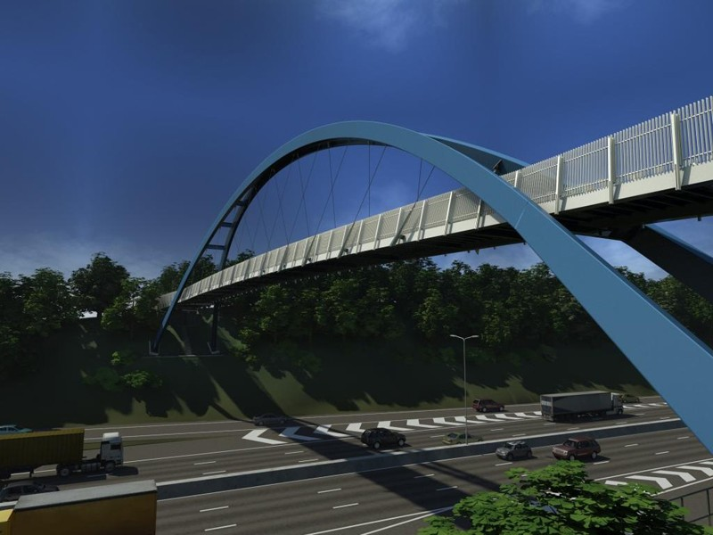Artist's impression of the new pedestrian/cycle bridge across the M5 near Exeter