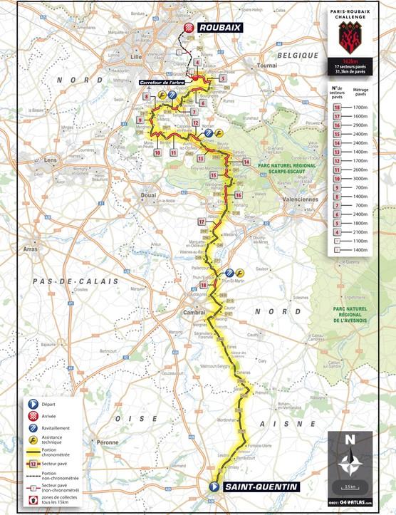The Paris-Roubaix Challenge course map