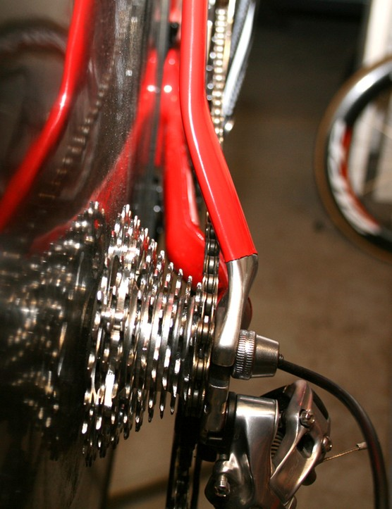 Transmission is courtesy of a SRAM Red cassette and rear derailleur