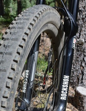 Maxxis's venerable High Roller II looks okay but sure isn't with rims this wide