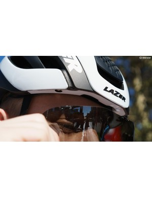 The Bullet 2.0 features a magnetic clip-on visor