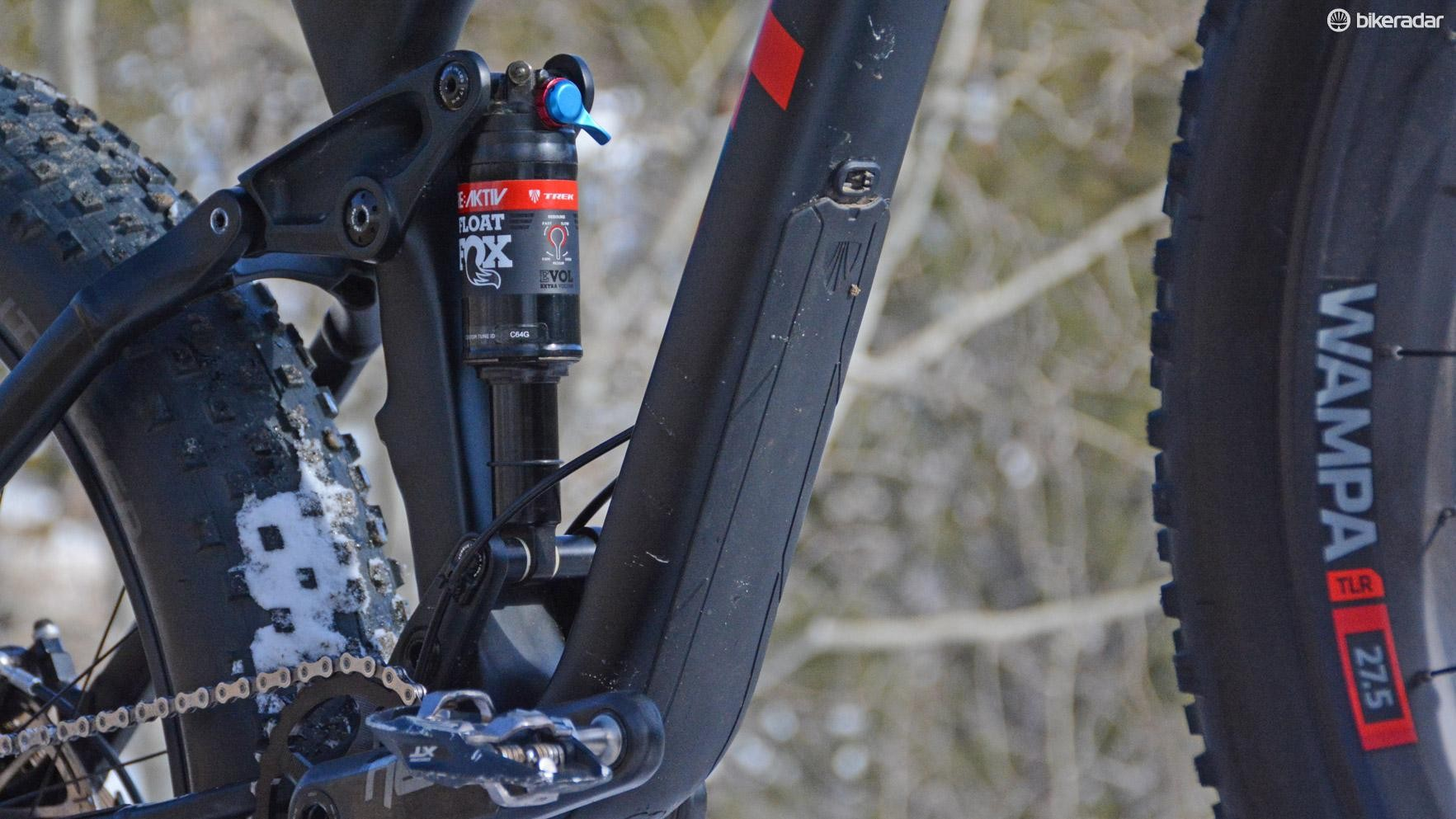Proof that this rig is destined for summertime's rocks, Trek's Carbon Armor protects the down tube from trail shrapnel