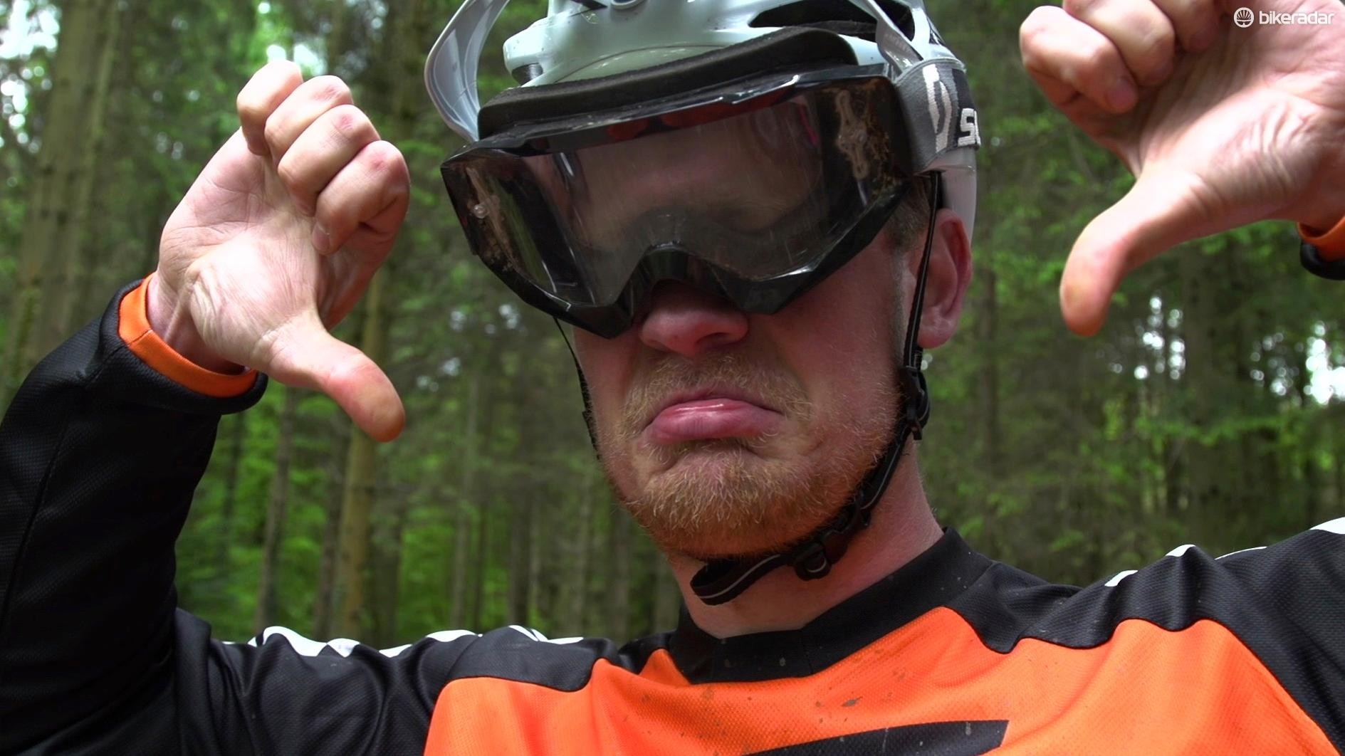 Sorry goggle users, if you shove them under your visor, you'll be disappointed