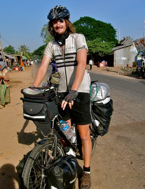 Leon on the road to Phnom Penh, Cambodia