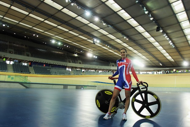 Team GB's Victoria Pendleton at the new London 2012 Velodrome, where she'll be hoping for a repeat of her 2008 gold medal success