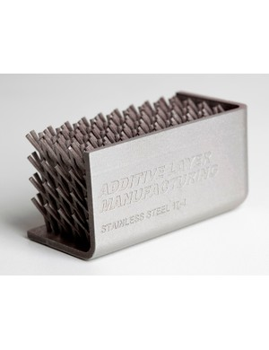 Hierarchal cellular structure designed for tailored stiffness, produced at the Centre for Additive Layer Manufacturing (CALM) using a laser chamber and stainless steel powder
