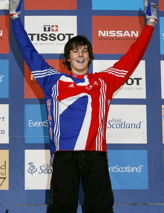 Cunningham celebrates taking the junior gold medal at the 2007 UCI Mountain Bike & Trials World Championships in Fort William, Scotland