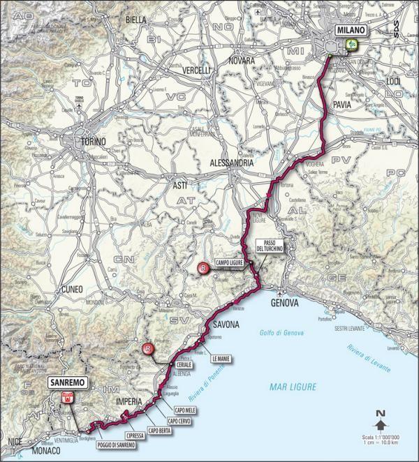 Milan-San Remo race route