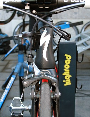 The front end of Cav's bike