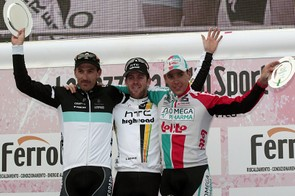 The podium: Fabian Cancellara (2nd), Matt Goss (1st), Philippe Gilbert (3rd)