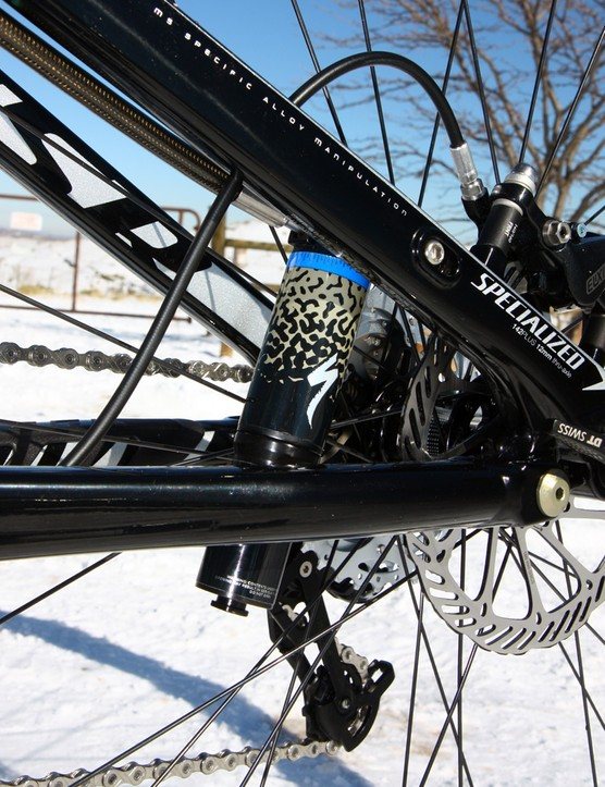 Specialized's latest Brain inertia-valve shock sets it apart from other four-bar designs.  The auto-lockout opens and closes nearly instantly in response to the terrain and the transition is nearly imperceptible in most settings
