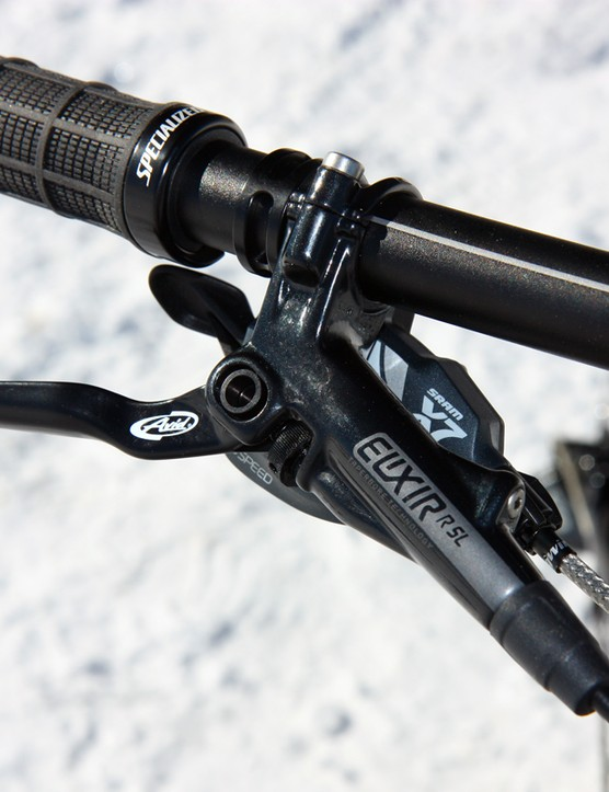 Avid Elixir R SL brakes are custom tweaked for Specialized while the SRAM X7 trigger shifters offer competent performance