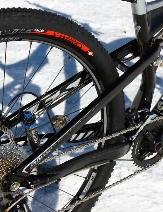 The aluminum rear triangle is heavier than the carbon one used on higher-end Epic frames but some riders may actually prefer the additional impact toughness
