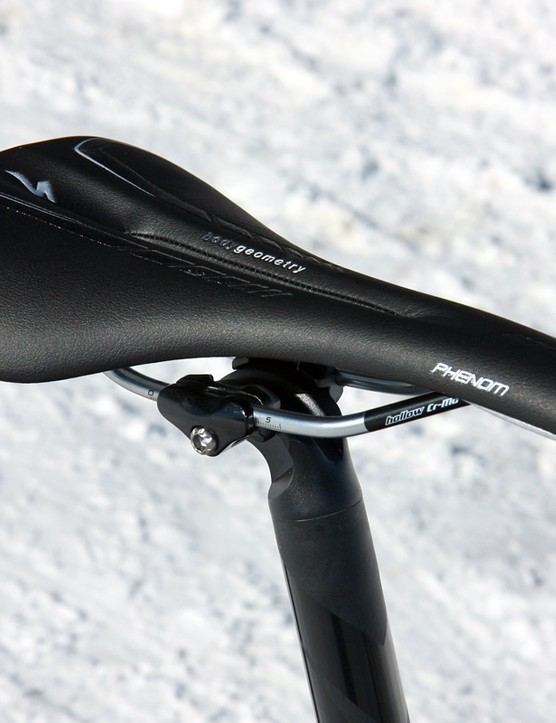 The Specialized Phenom saddle is sparsely padded but well shaped and with a nicely rounded tail