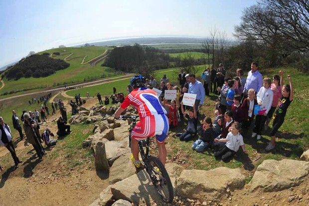 Test riding the London 2012 Olympic mountain bike course at Hadleigh Farm in Essex