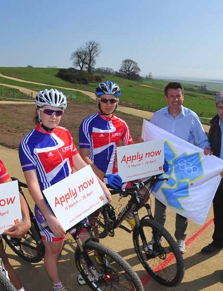 British team riders with Lord Coe at the mountain bike venue