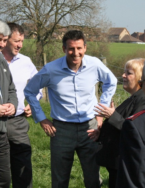 Lord Coe meets staff and volunteers from the Salvation Army, who own the Hadleigh Farm site