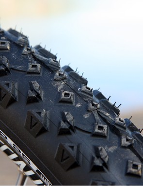 The new Michelin Wild Race'R tread features a low-profile center tread that's fast rolling but still fairly openly spaced for grip on moderately loose surfaces matched to progressively taller knob heights as you move out towards the well bolstered shoulder blocks