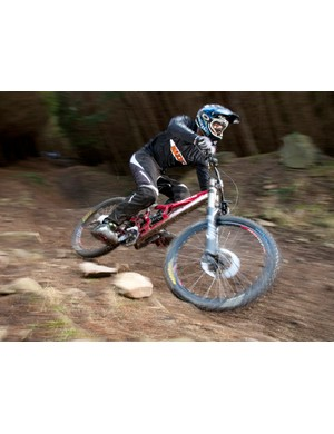 The Scot seems to get on well with Rocky Mountain's Flatline downhill bike