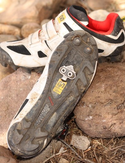 Mavic have one of the best mountain bike 'race' soles in the business. It's rubber and actually grips rocks