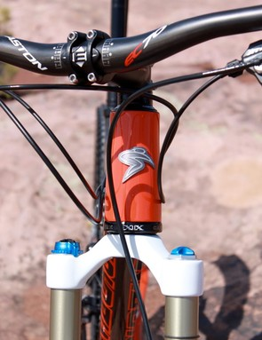 A tapered head tube helps boost steering stiffness
