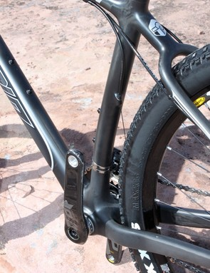 The seat tube features a slight sweep to better clearances
