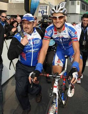 A triumphant Tom Boonen post-finish