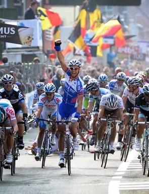 Tom Boonen celebrates after winning Gent-Wevelgem